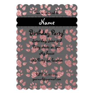 Personalized name light red glitter cat paws 5x7 paper invitation card