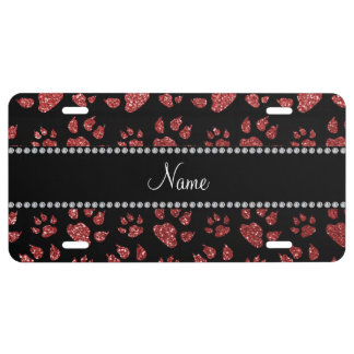 Personalized name light red glitter cat paws license plate