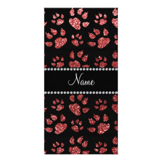 Personalized name light red glitter cat paws picture card
