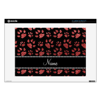 Personalized name light red glitter cat paws laptop skins