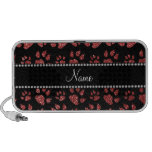 Personalized name light red glitter cat paws travel speakers