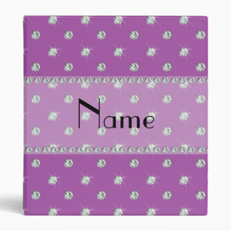 Personalized name lilac purple diamonds 3 ring binder