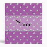 Personalized name lilac purple diamonds 3 ring binder