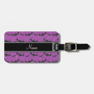 Personalized name lilac purple glitter bats bag tag