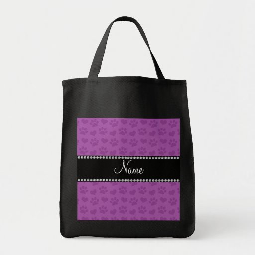 Personalized name lilac purple hearts and paw prin canvas bags