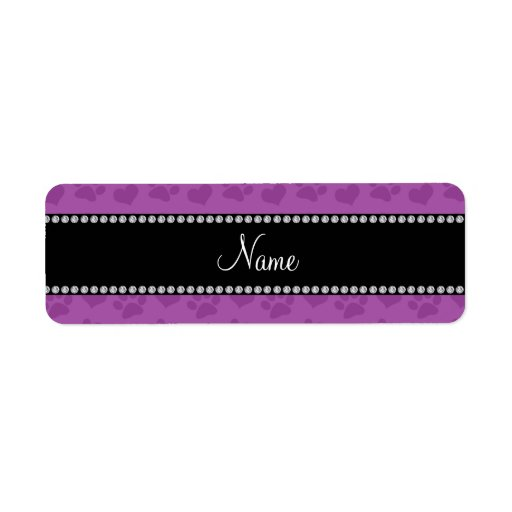 Personalized name lilac purple hearts and paw prin custom return address labels