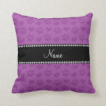 Personalized name lilac purple hearts and paw prin pillow