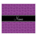 Personalized name lilac purple hearts and paw prin poster
