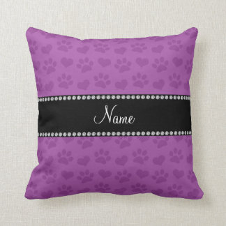 Personalized name lilac purple hearts and paw prin throw pillow
