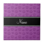 Personalized name lilac purple hearts and paw prin ceramic tile