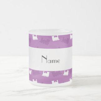 Personalized name lilac purple train pattern mugs