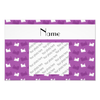 Personalized name lilac purple train pattern photograph