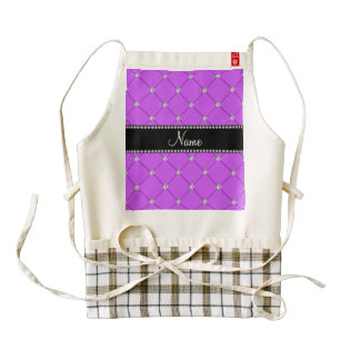 Personalized name lilac purple tuft diamonds zazzle HEART apron