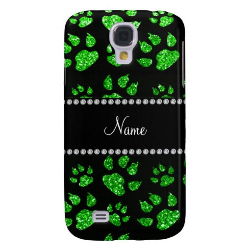 Personalized name lime green glitter cat paws galaxy s4 cases