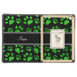Personalized name lime green glitter cat paws iPad air covers