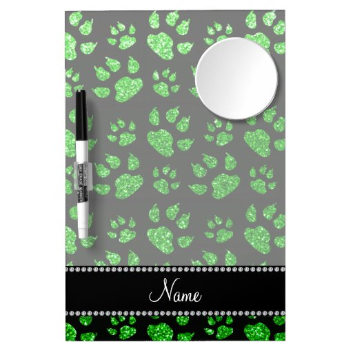 Personalized name lime green glitter cat paws Dry-Erase whiteboards
