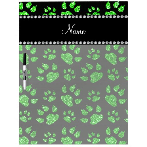 Personalized name lime green glitter cat paws dry erase whiteboards