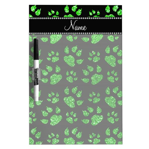 Personalized name lime green glitter cat paws dry erase whiteboard