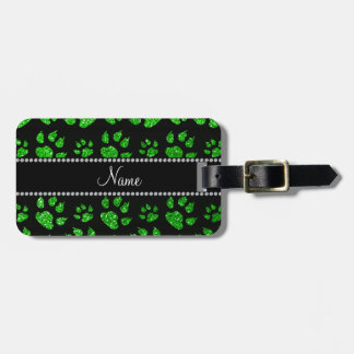 Personalized name lime green glitter cat paws luggage tag