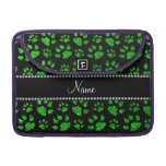 Personalized name lime green glitter cat paws sleeves for MacBooks