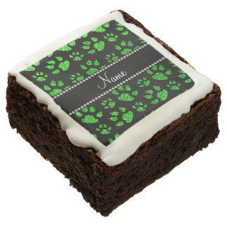 Personalized name lime green glitter cat paws brownie