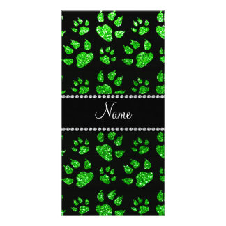 Personalized name lime green glitter cat paws photo cards