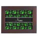 Personalized name lime green glitter cat paws keepsake boxes
