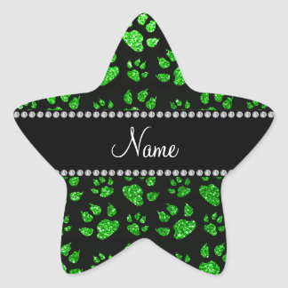 Personalized name lime green glitter cat paws star sticker