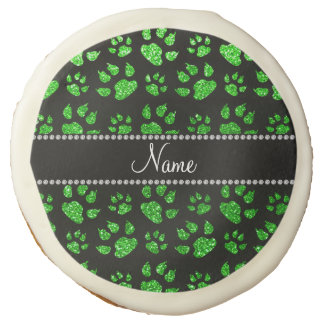 Personalized name lime green glitter cat paws sugar cookie
