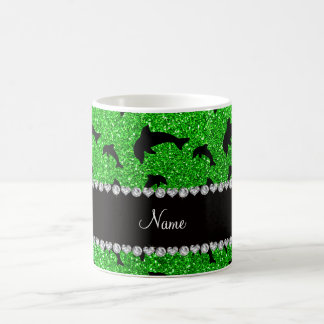 Personalized name lime green glitter dolphins coffee mug