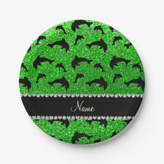 Personalized name lime green glitter dolphins 7 inch paper plate