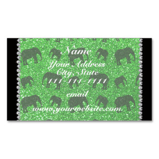 Personalized name lime green glitter elephants magnetic business cards (Pack of 25)