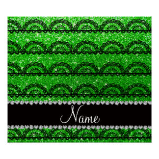 Personalized name lime green glitter lace print