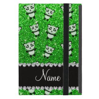Personalized name lime green glitter pandas iPad mini case