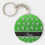 Personalized name lime green glitter pandas basic round button keychain