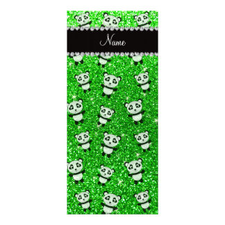Personalized name lime green glitter pandas rack card template