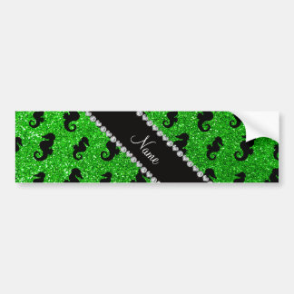 Personalized name lime green glitter seahorses car bumper sticker