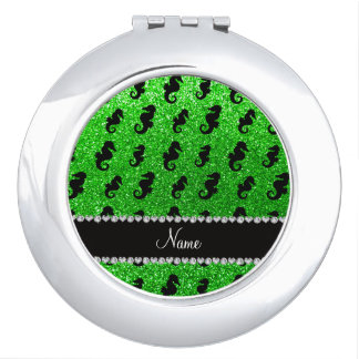 Personalized name lime green glitter seahorses vanity mirror
