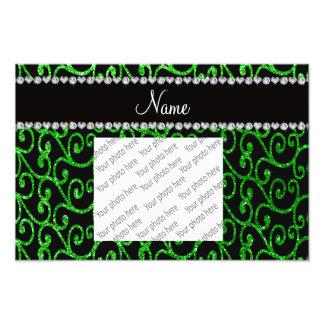 Personalized name lime green glitter swirls photo print