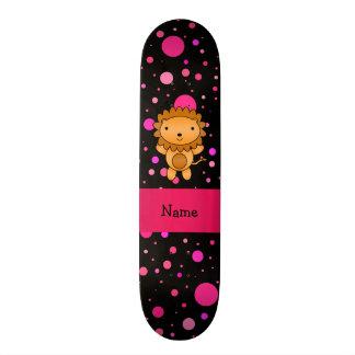 Personalized name lion black pink polka dots skateboard decks
