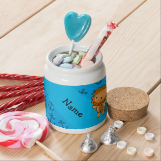 Personalized name lion blue anchors pattern candy jar