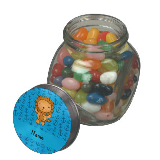 Personalized name lion blue anchors pattern glass candy jar