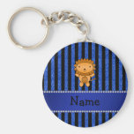 Personalized name lion blue glitter stripes keychains