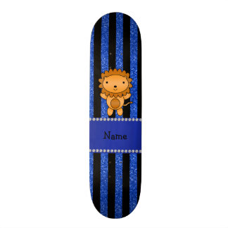 Personalized name lion blue glitter stripes skateboard decks
