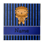 Personalized name lion blue glitter stripes tile