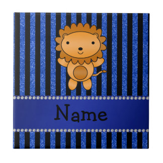 Personalized name lion blue glitter stripes tile
