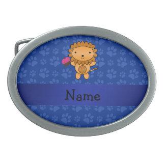 Personalized name lion cupcake blue paws oval belt buckle