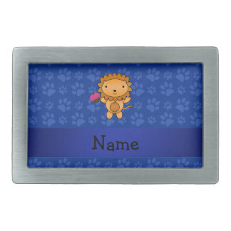 Personalized name lion cupcake blue paws belt buckle
