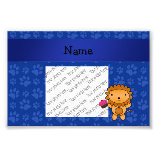 Personalized name lion cupcake blue paws photograph