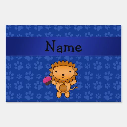 Personalized name lion cupcake blue paws yard sign